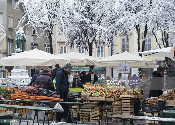 Locals shop at the Market on January 14 2017 in Ljubljana Slovenia Most of Slovenia was covered by heavy snowfalls for the first time this winter