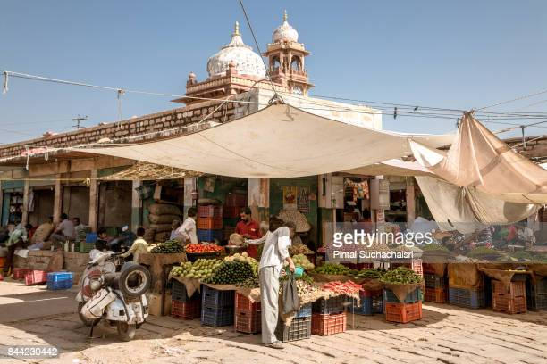 Locals Shop for Vegetables in Sardar Market of Jodhpur, Rajasthan, India