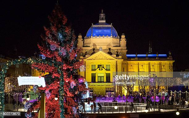 Locals skate at the Christmas ice rink in the city centre on December 22 2015 in Zagreb Croatia Zagreb was voted last week European Christmas Market...