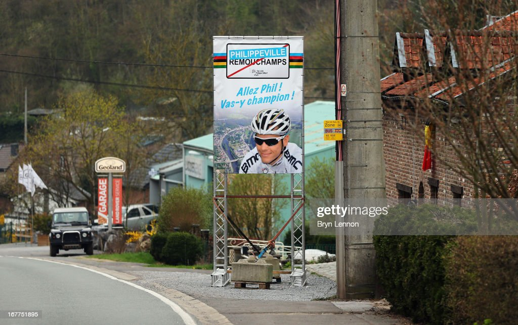 Locals underline their support for World Road Race Champion <a gi-track='captionPersonalityLinkClicked' href=/galleries/search?phrase=Philippe+Gilbert&family=editorial&specificpeople=578487 ng-click='$event.stopPropagation()'>Philippe Gilbert</a> during the 99th Liege-Bastogne-Liege road race on April 21, 2013 in Remouchamps, Belgium. (Photo by Bryn Lennon/Getty Images).