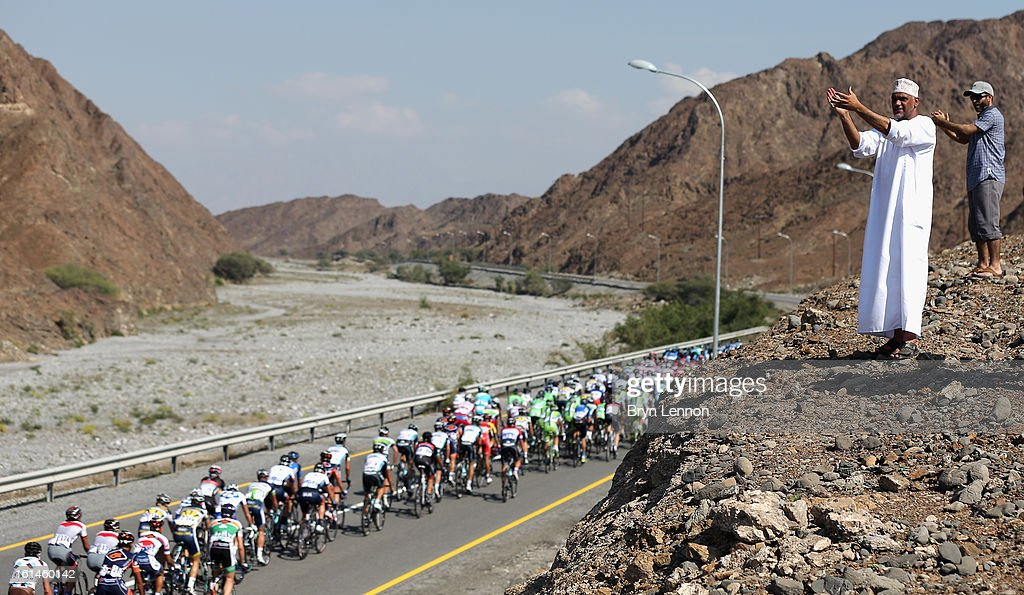 Locals welcome the peloton on stage one of the 2013 Tour of Oman from Al Musannah to Sultan Qaboos University on February 11, 2013 in Muscat, Oman.