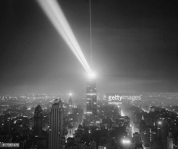Located 1092 feet above the sidewalks of New York the world's brightest continuous manmade source of light was tested for the first time this morning...