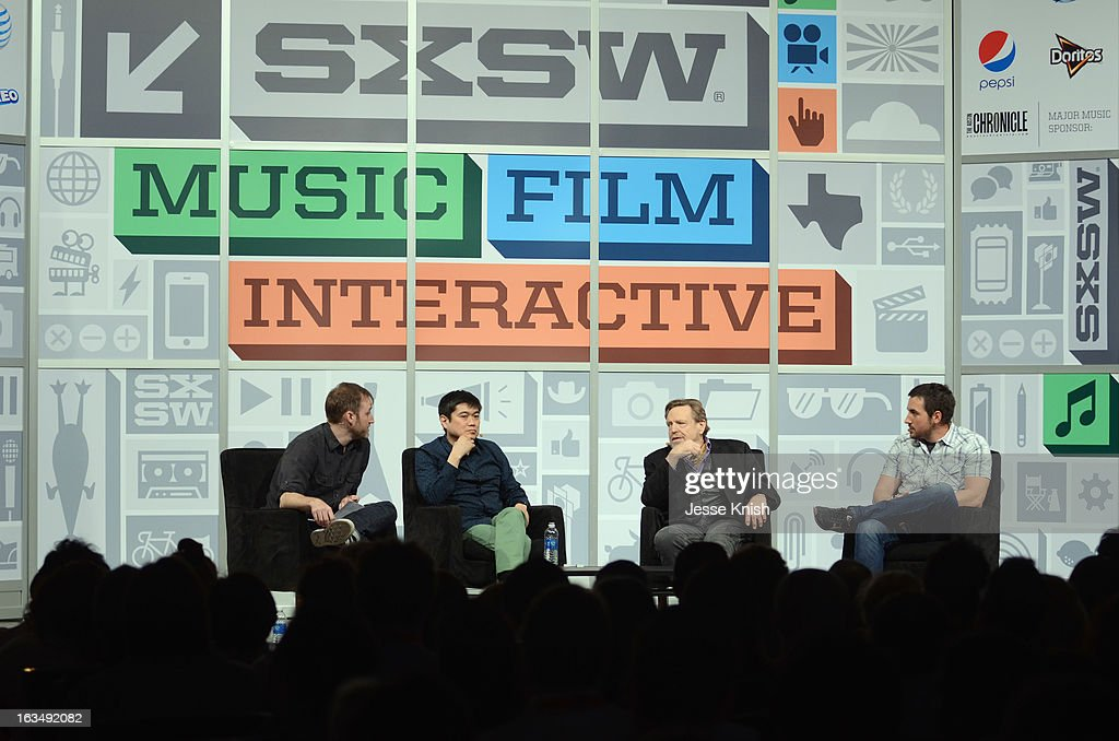 Location director Colin Raney, Joichi Ito, Director of the MIT Media Lab, John Perry Barlow, Co-Founder Electronic Frontier Foundation and Kevin Rose, Venture Partner Google Ventures speak onstage at The New Serendipity? during the 2013 SXSW Music, Film + Interactive Festival at Austin Convention Center on March 10, 2013 in Austin, Texas.