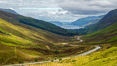 View of Loch Maree from Glen Doherty - part of the North Coast 500 scenic route around the north coast of Scotland.