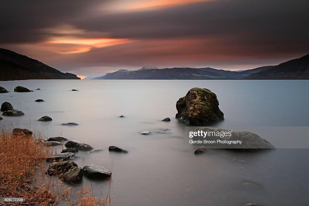 Loch Ness at sunset.
