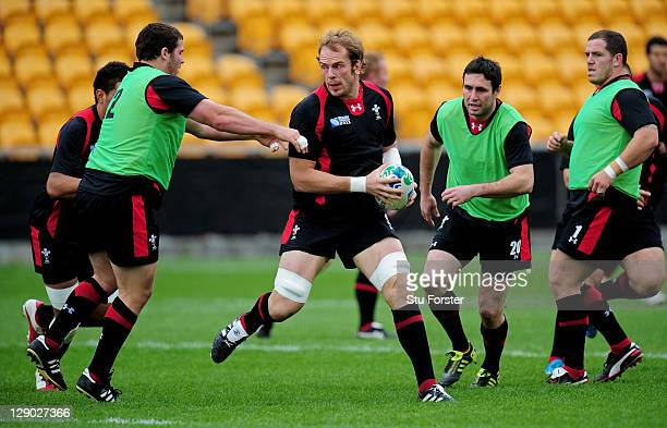 Lock Alun Wyn Jones runs through drills with teammates during a Wales IRB Rugby World Cup 2011 training session at Mt Smart Stadium on October 11...