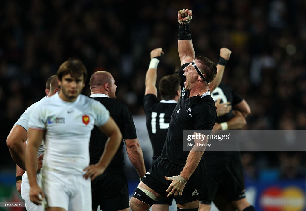 Lock Brad Thorn celebrates following his team's 87 victory as the final whistle during the 2011 IRB Rugby World Cup Final match between France and...