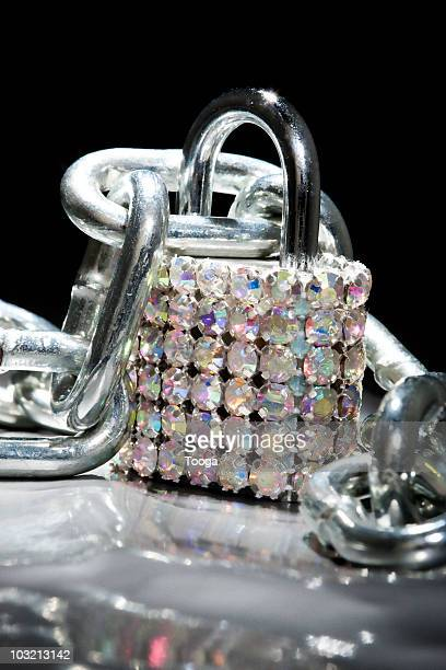 Lock covered in diamond rhinestones with chain