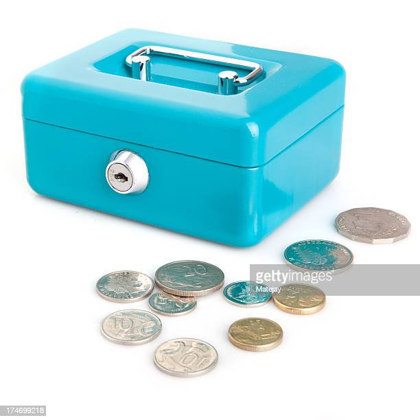 Locked cash box with Australian coins