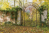 Beautiful old iron locked gate in the park with colorful autumn leaves of trees. Horizontally.