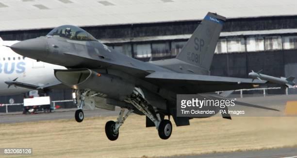 A Lockheed Martin F16 lands after display at Farnborough Airshow