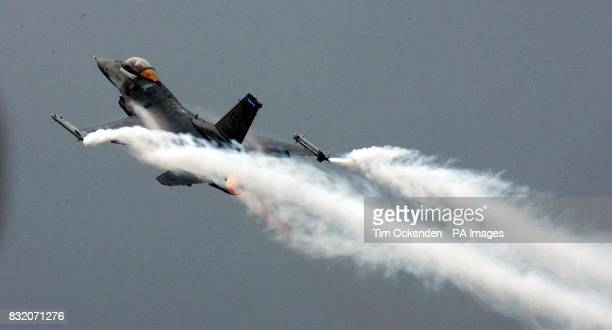 A Lockheed Martin F16 takes off at Farnborough Airshow