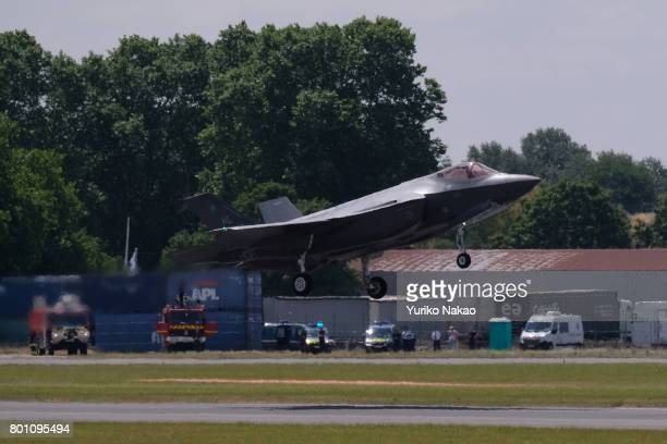 Lockheed Martin F35A Lightning II prepares for landing following an aerial display over the Le Bourget Airport on the first public day of the 52nd...