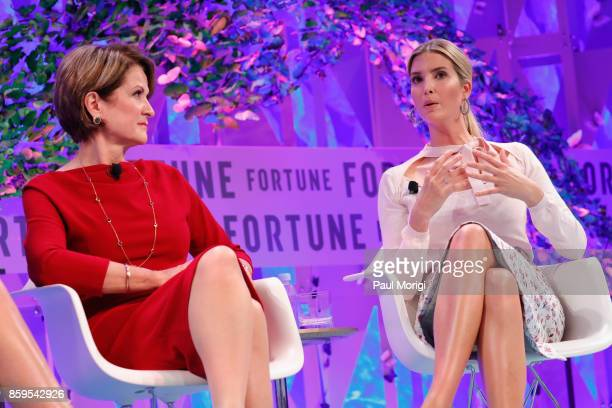 CEO Lockheed Martin Marillyn Hewson and Advisor to the President Ivanka Trump speak onstage at the Fortune Most Powerful Women Summit on October 9...