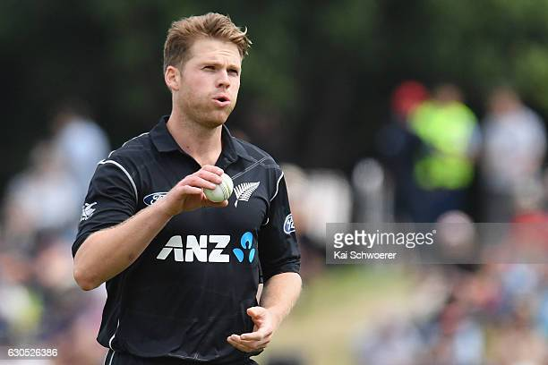Lockie Ferguson of New Zealand reacting during the first One Day International match between New Zealand and Bangladesh at Hagley Oval on December 26...