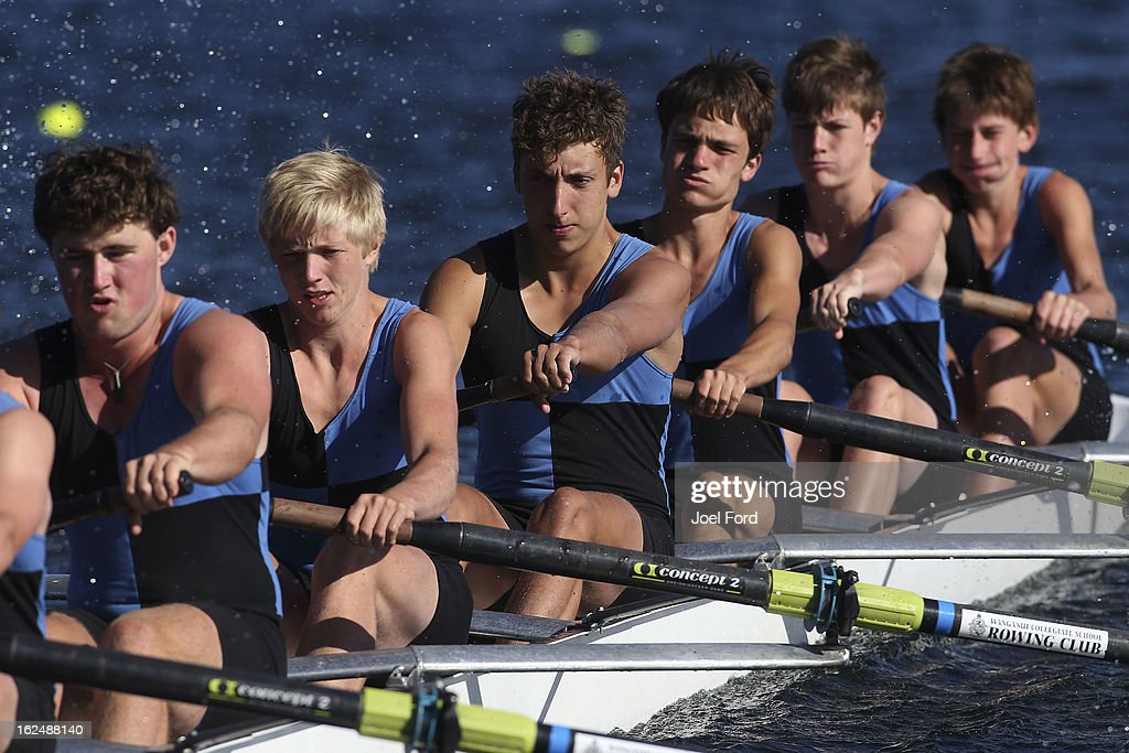 Lockie Hobbs, Edward Phelps, James Clark ,Oliver Lee, Dylan Cleave, Louis Lelievre of Wanganui Collegiate School under -17 coxed eight during the New Zealand Junior Rowing Regatta on February 24, 2013 in Auckland, New Zealand.
