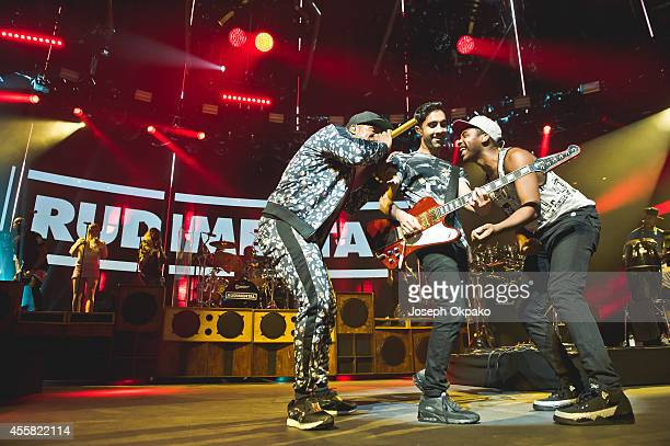 Locksmith Amir Amor and Kesi Dryden of Rudimental performs on stage at the iTunes Festival at The Roundhouse on September 20 2014 in London United...