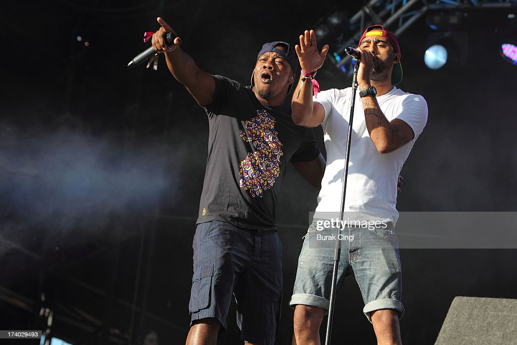 DJ Locksmith and Ami Amor of Rudimental perform on stage on day 1 of Lovebox Festival 2013 at Victoria Park on July 19, 2013 in London, England.
