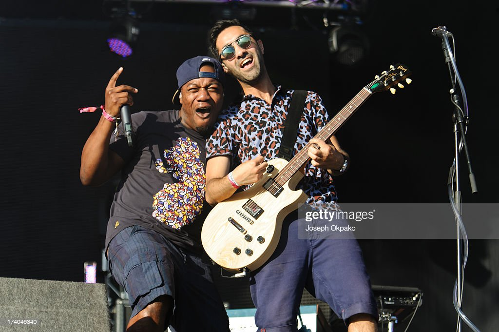 DJ Locksmith and Ami Amor of Rudimental performs on Day 1 of the Lovebox festival at Victoria Park on July 19, 2013 in London, England.