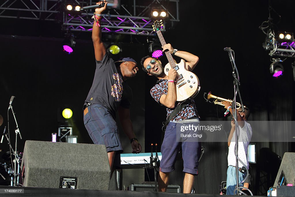 DJ Locksmith and Amir Amor of Rudimental perform on stage at Victoria Park on July 19, 2013 in London, England.