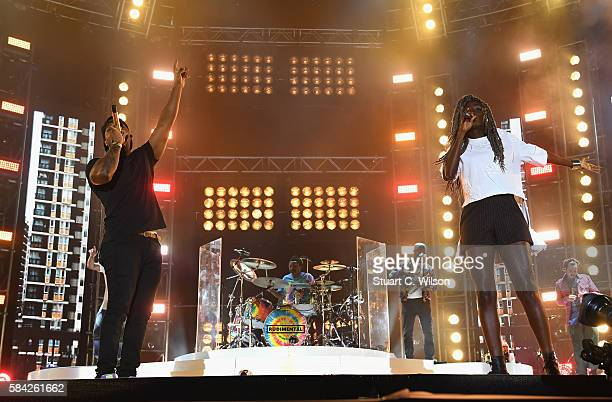 Locksmith and Bridgette Amofah of Rudimental perform on stage at MTV Crashes Plymouth at Plymouth Hoe on July 28 2016 in Plymouth England