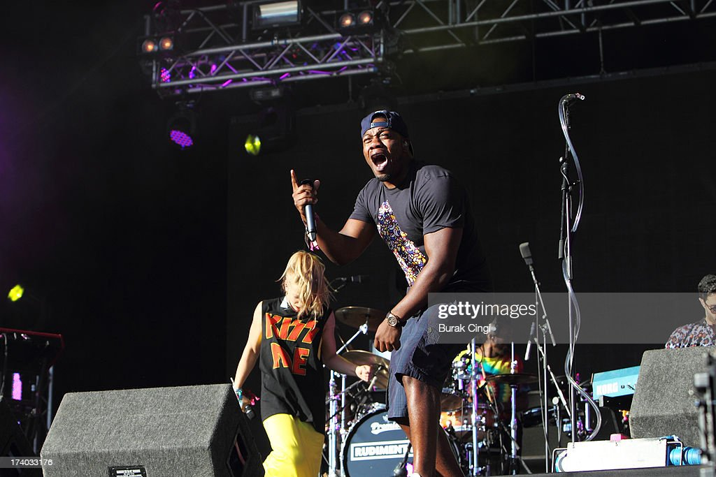 DJ Locksmith of Rudimental performs on stage at Victoria Park on July 19, 2013 in London, England.