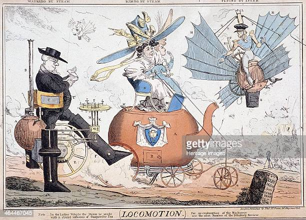 'Locomotion' London c1820 in the centre two women wearing over sized hats drive a vehicle in the shape of a teapot which has steam issung from the...
