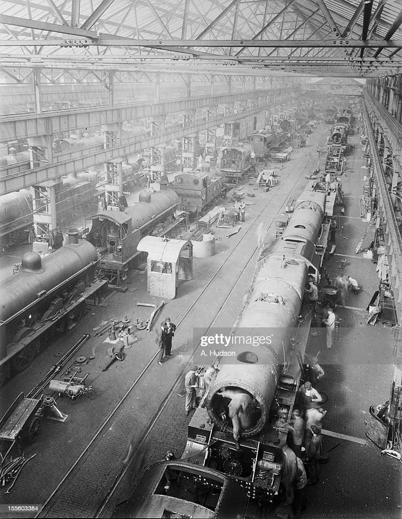 Locomotive building at the Crewe Works of the London Midland and Scottish Railway at Crewe Cheshire 14th September 1934 In the foreground is a 460...