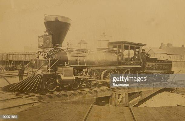 locomotive 'EM Stanton' built in 1862 and named for the secretary of war on a turntable at the Alexandria railroad station