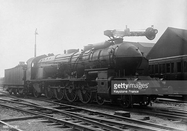 Locomotive in a Paris station in May 1929 in Paris France