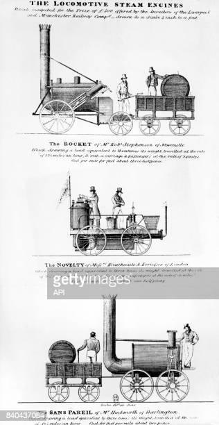 Locomotives anglaises 'Rocket' 'Novelty' et 'Sans Pareil' de la ligne LiverpoolManchester en Angleterre au XIXIè siècle