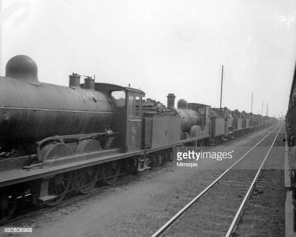 Locomotives at Ghent in belgium waiting to be sent south during fighting on the Western front World War One 24th August 1914
