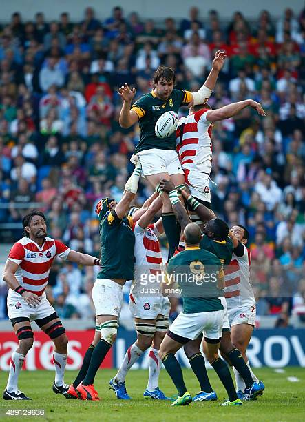 Lodewyk De Jager of South Africa wins the lineout during the 2015 Rugby World Cup Pool B match between South Africa and Japan at the Brighton...