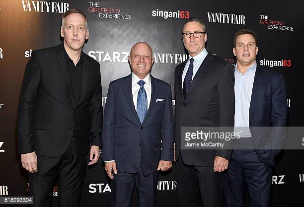 Lodge Kerrigan STARZ CEO Chris Albrecht Carmi Zlotnik and Jeff Hirsch attend the New York premiere of 'The Girlfriend Experience' at The Paris...