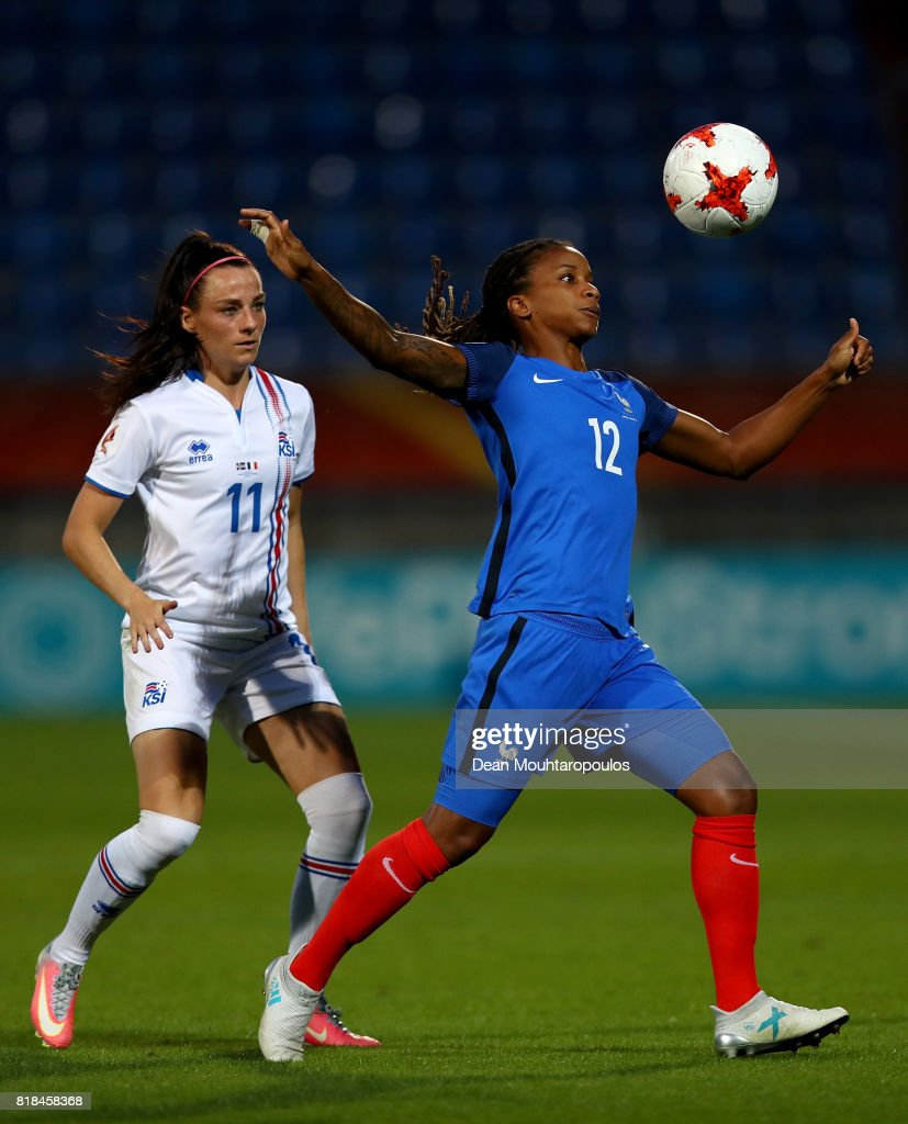 Élodie Thomis (R) of France and Hallbera Gísladóttir of Iceland compete for the ball during the Group C match between France and Iceland during the UEFA Women's Euro 2017 at Koning Willem II Stadium on July 18, 2017 in Tilburg, Netherlands.
