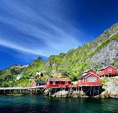 View of the village of Å, Lofoten islands, Norway. Composite photo