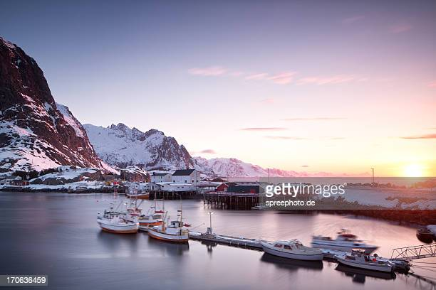 Lofoten moskenes fishing village at sunrise