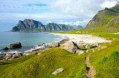 Utakleiv beach on Lofoten archipelago (Norway)