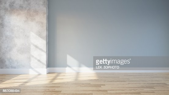 loft and vintage interior of living room, empty room,wood flooring and blue and concrete wall  ,3d rendering : Stock Photo