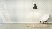 Loft Living and brick wall / 3D Render Image