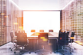 Loft conference room interior with a rectangular table and rows of chairs around it. 3d rendering mock up toned image double exposure