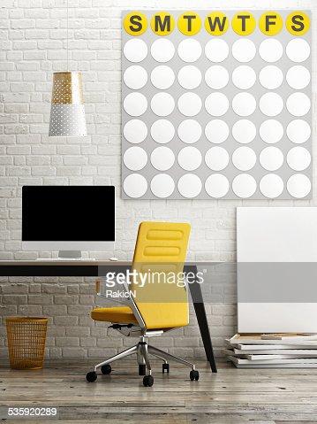 Loft office, mock up calendar on wall : Stock Photo