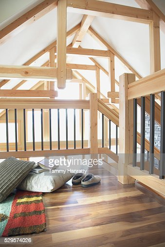 Loft space in chalet : Stock-Foto