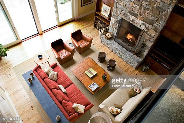 Loft view of a modern living room