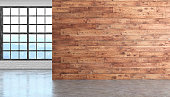 Loft wood empty room interior with concrete floor, window and brick wall. 3D render illustration.