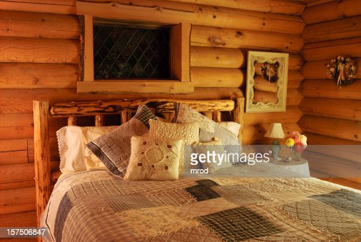 Log Cabin Bedroom With Jacuzzi Stock Photo | Getty Images