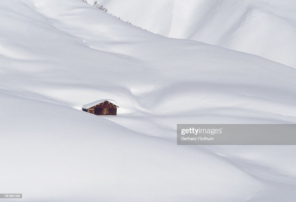 Log cabin in snowy alps