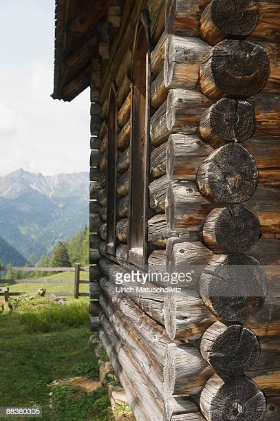 Germany, Bavaria, log cabin with mountain in background