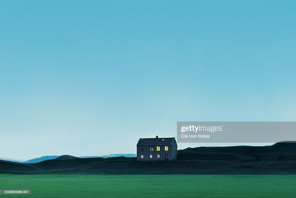 Log cabin on hill side : Stock Photo