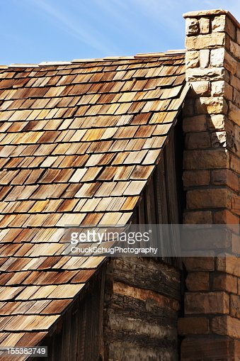 Rustic Log Cabin Roof Chimney